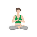 Woman practicing yoga vector on white background with shadow Stock Photo