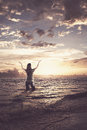 Woman praising in the ocean Royalty Free Stock Images