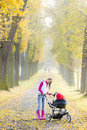 Woman with a pram on walk in autumnal alley Royalty Free Stock Photos