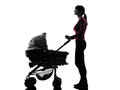Woman prams baby looking up silhouette one caucasian on white background Stock Photography