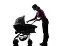 Woman prams baby silhouette Royalty Free Stock Photo