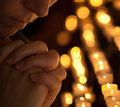 Woman praying in church cropped portrait Stock Photography