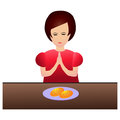 Woman praying during dinner a before eating Royalty Free Stock Photos
