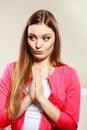 Woman praying to god jesus. Religion faith. Royalty Free Stock Photo