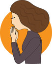 Woman prays in dark clothes with brown hair praying Royalty Free Stock Photo