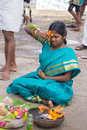 Woman during pregnancy ritual at Amma Mandapam. Royalty Free Stock Photo