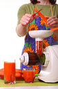 Woman prepare Juice extractor and carrot Stock Photography