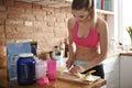 Woman preparing carbs shake bananas is good way for healthy Stock Photo