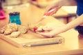 Woman preparing healthy breakfast making sandwich Royalty Free Stock Photo