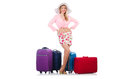 Woman preparing for travel on summer vacation Stock Image