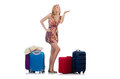 Woman preparing for travel on summer vacation Royalty Free Stock Photography