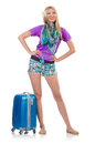 Woman preparing for travel on summer vacation Stock Photos