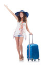 Woman preparing for travel on summer vacation Royalty Free Stock Photos