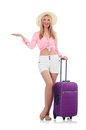 Woman preparing for travel on summer vacation Stock Images