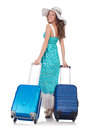 Woman preparing for travel on summer vacation Royalty Free Stock Image
