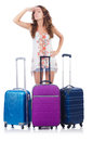 Woman preparing for travel on summer vacation Royalty Free Stock Images