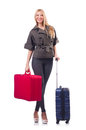 Woman preparing for vacation with suitcase on white Stock Photo