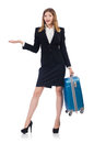 Woman preparing for vacation with suitcase on white Stock Photos