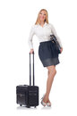 Woman preparing for vacation with suitcase on white Stock Photography