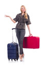 Woman preparing for vacation with suitcase on white Royalty Free Stock Photo