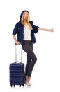 Woman preparing for vacation with suitcase on white Royalty Free Stock Image