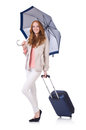 Woman preparing for vacation with suitcase on white Royalty Free Stock Images