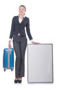 Woman preparing for vacation with suitcase on white Stock Images