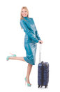 Woman preparing for vacation with suitcase on white Royalty Free Stock Photos