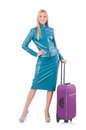 Woman preparing for vacation with suitcase on white Royalty Free Stock Photography