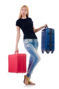 Woman preparing for vacation on white Royalty Free Stock Photography