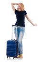 Woman preparing for vacation on white Royalty Free Stock Photo