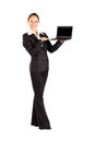 Woman presenting laptop Stock Photo