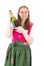 Woman presenting new wine younger Royalty Free Stock Photo