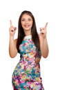 Woman is presenting or pointing with her finger. Royalty Free Stock Photo