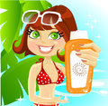 Woman presents cream for sunburn on sea background Royalty Free Stock Image