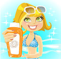 Woman presents cream for sunburn on shiny sea Royalty Free Stock Photos