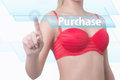 Woman pressing purchase button Royalty Free Stock Photo