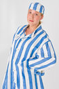 Woman in prison uniform Royalty Free Stock Images