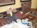 Woman producing carpet a manually in turkey Stock Image