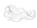 Woman profile with long hair Royalty Free Stock Photo