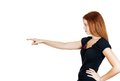 Woman in profile pointing Royalty Free Stock Images