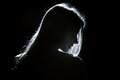 Woman profile sad silhouette in dark Royalty Free Stock Images
