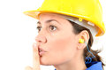 Woman with protective equipment and earplugs ear plugs Stock Images