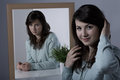 Woman with psychiatric disorder smothering her emotions Stock Photos