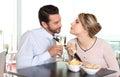 Woman pulling the tie to boyfriend couple love concept flirt Stock Images