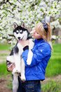 Woman with puppy husky Royalty Free Stock Image