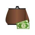 Woman purse with bills icon design