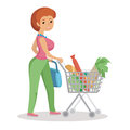 Woman pushing supermarket shopping cart full of groceries. Flat style vector illustration  on white background. Royalty Free Stock Photo