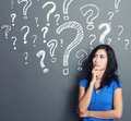 Woman with question mark Royalty Free Stock Photo
