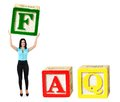 Woman raise letter from word faq Stock Photo